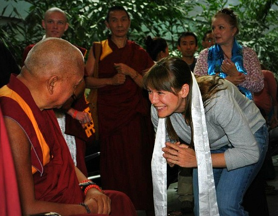 Lama Zopa Rinpoche and Heidi